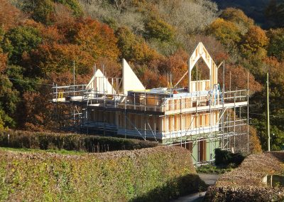 Ty Newydd during construction of the timber frame