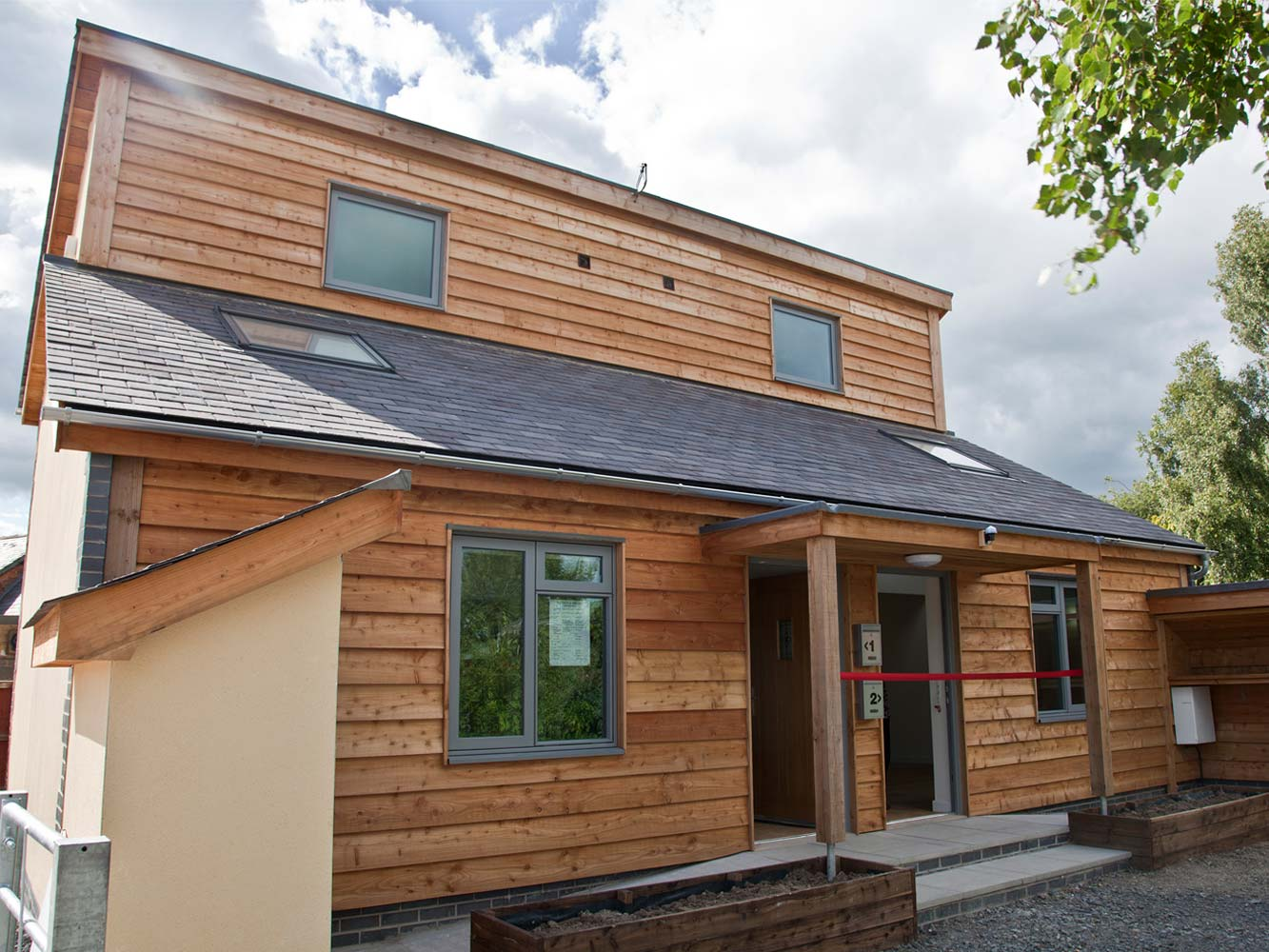 Timber frame social housing project mid wales