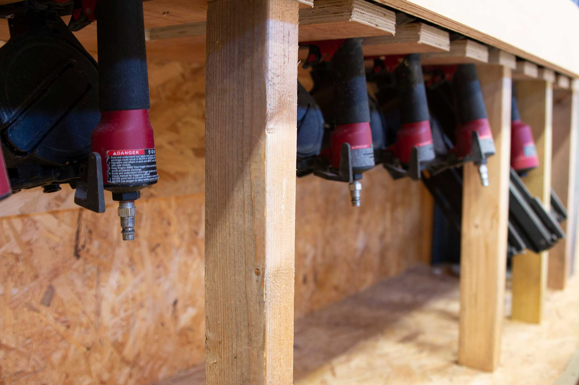 Nail guns for making timber frame houses