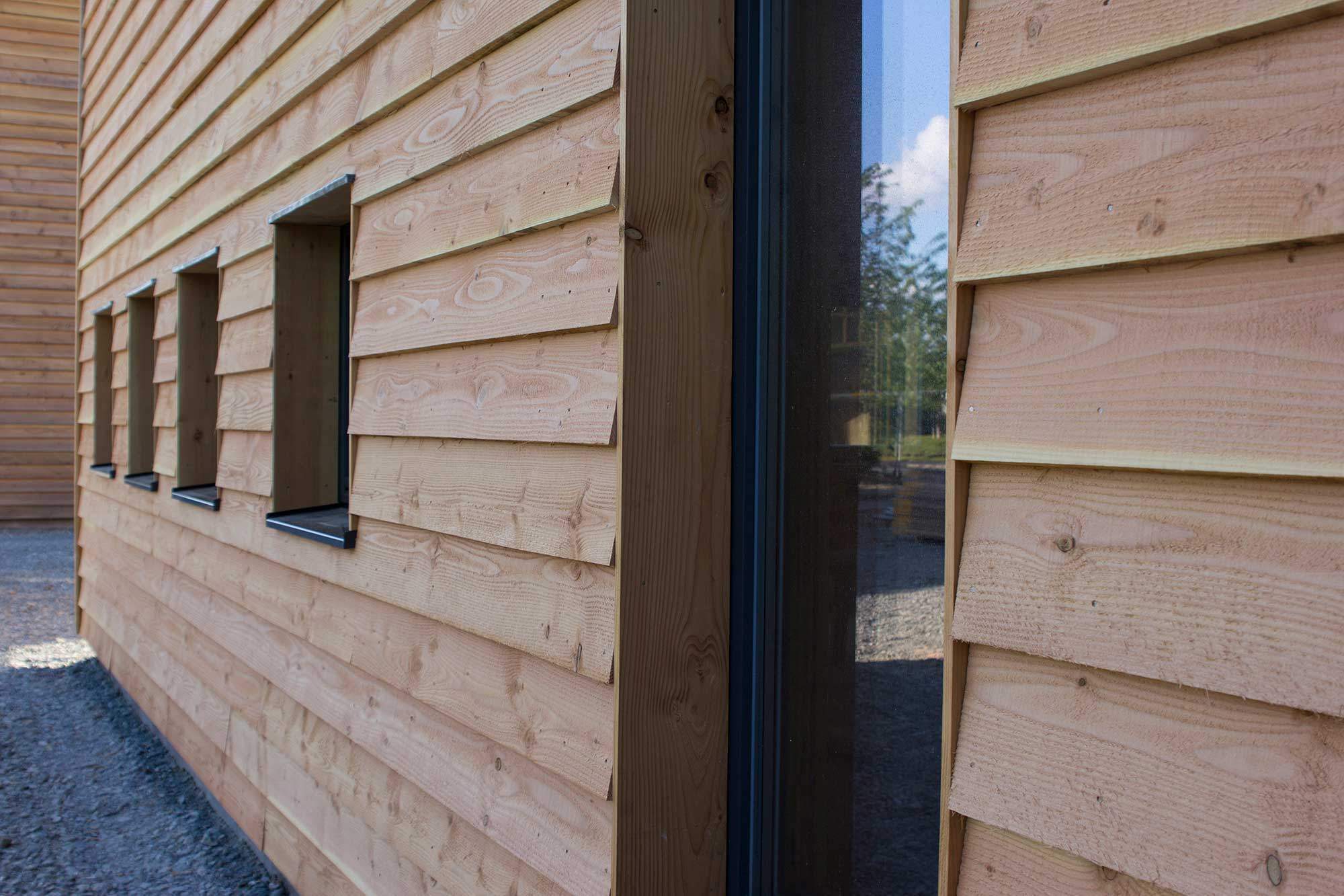 PYC Passivhaus office windows and timber cladding